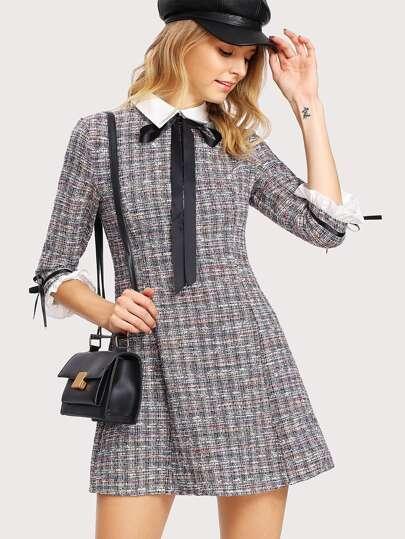 Vestido tweed con cuello en contraste