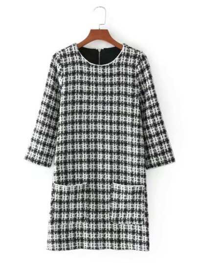 Front Pocket Plaid Tweed Dress