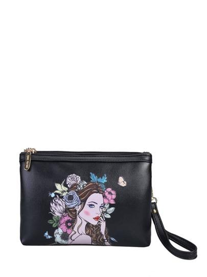حقيبة الكتف بصورة البنت  لون اسود PU