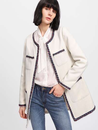 Braided Patched Open Front Longline Coat