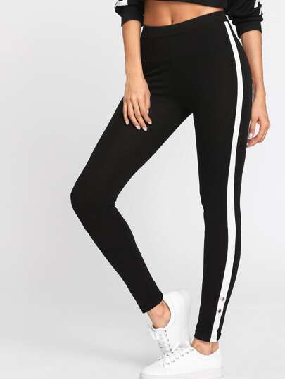 SHEIN                            Grommet Detail Contrast Panel Leggings