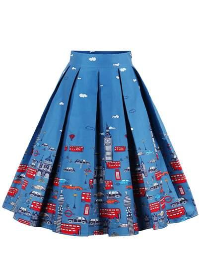 Cartoon Print Box Pleated Skirt