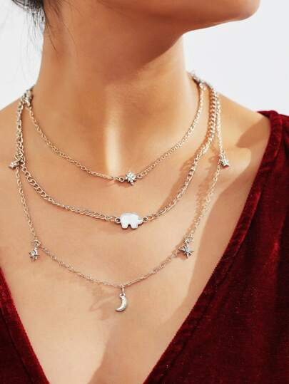 Elephant & Star Detail Layered Link Necklace