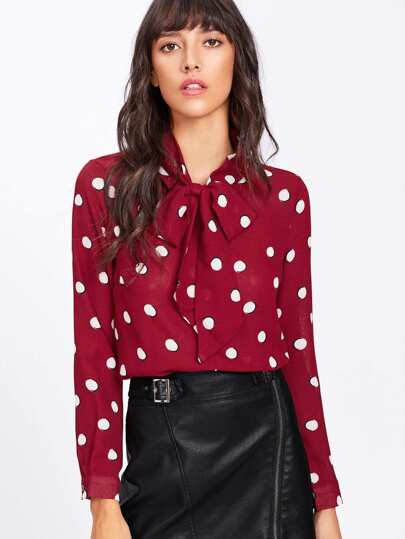 Bow Tie Neck Dot Print Top