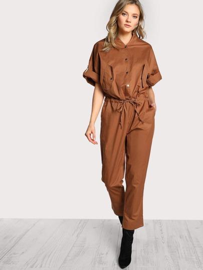 Quarter Sleeve Front Pocket Jumpsuit CAMEL