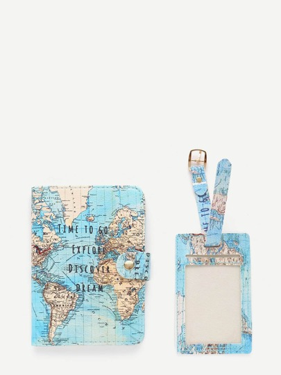 Map Print PU Luggage Tag & Passport Package
