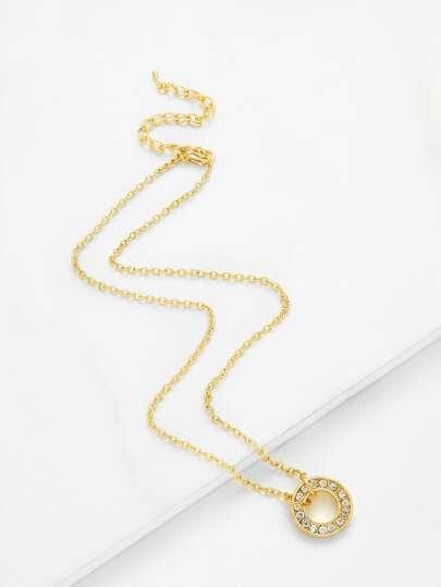 Collar de cadena colgante de aro de diamante de imitación