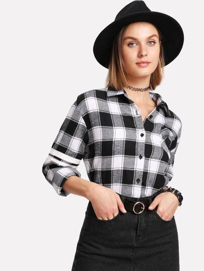 Single Pocket Striped Sleeve Curved Checkered Shirt