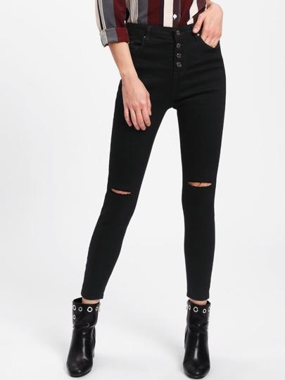 Jeans mit Rissen und Knöpfe vorn