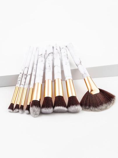 9 piezas de pinceles de maquillaje con asa de mármol