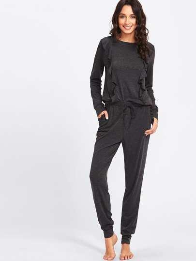 Flounce Embellished Sweatshirt & Sweatpants Set