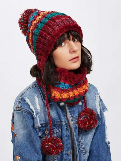 Pom Pom Knit Beanie Hat With Infinity Scarf