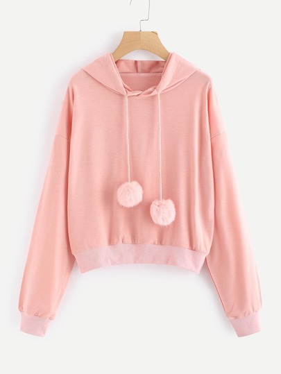 Pom Pom Drawstring Hooded Sweatshirt