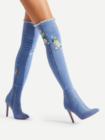 Jeans Stiefel mit Calico Stickereien