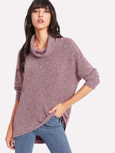 Curved Dip Hem Marled Top