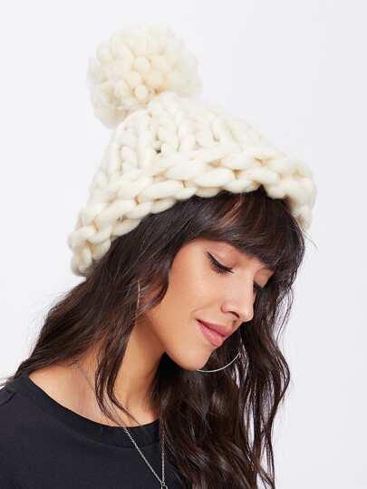 Chunky Pom Pom Beanie Hat