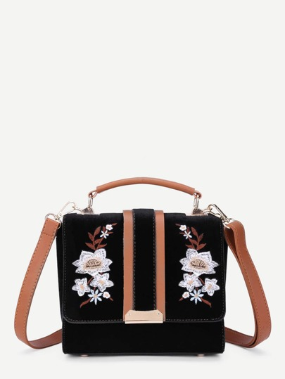 Модная бархатная сумка с цветочной вышивкой