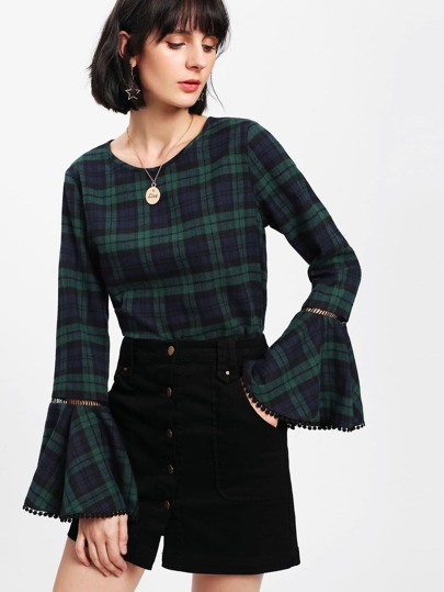 Trumpet Sleeve Lace Insert Checkered Top