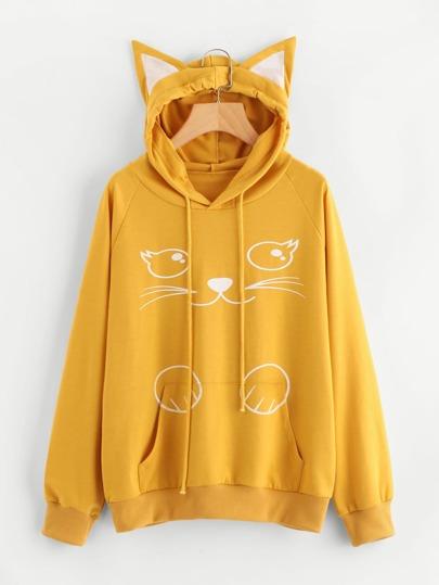 Camisa de capucha con impresión con oreja de gato