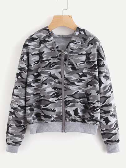 Contrast Ribbed Trim Camo Hooded Jacket