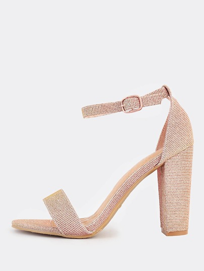 Glitter One Band Ankle Strap Heels ROSE GOLD