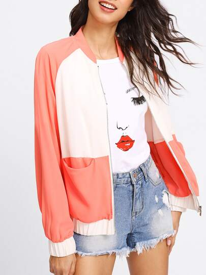 Two Tone Raglan Sleeve Bomber Jacket