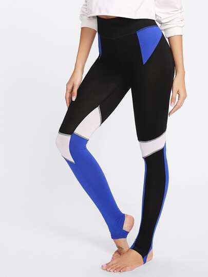 SHEIN                            Cut And Sew Topstitch Stirrup Leggings