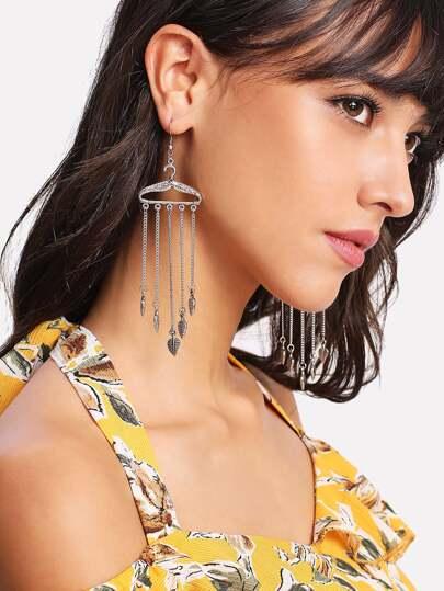 Leaf Detail Chain Tassel Drop Earrings