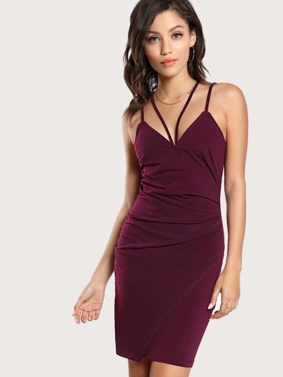 Surplice Strappy Slim Cami Dress