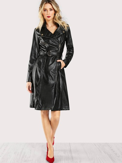 Faux Leather Long Sleeve Dress BLACK