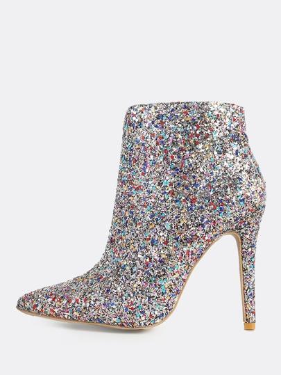 Multi Glitter Booties SILVER