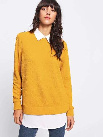 Curved Dip Hem Textured 2 In 1 Sweatshirt