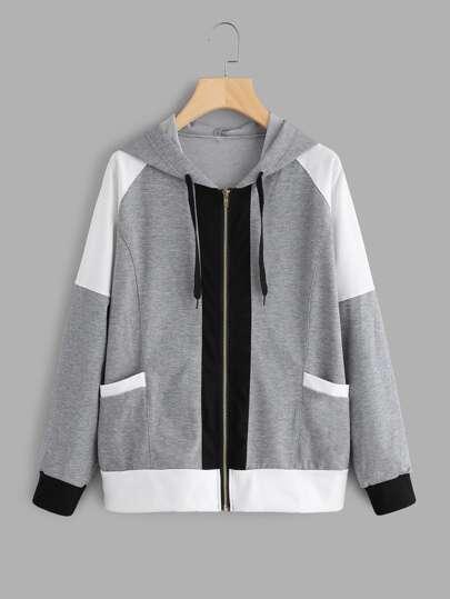 Contrast Panel Marled Hooded Jacket
