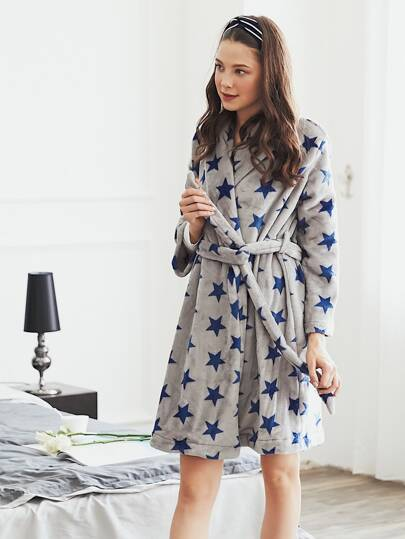 All Over Star Print Plush Robe