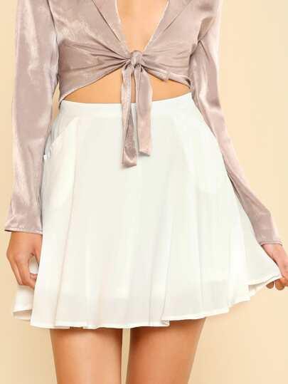 A Line Side Pocket Skirt WHITE
