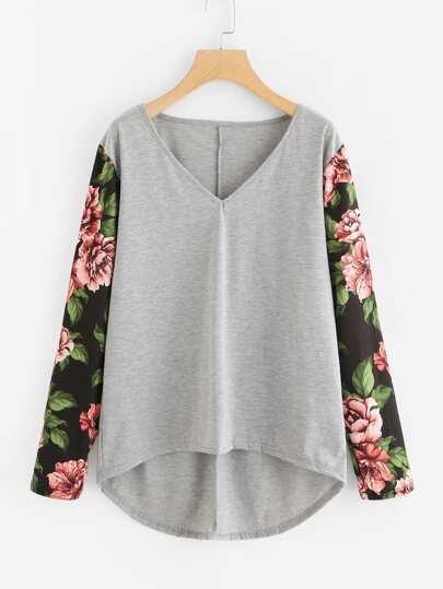 Contrast Floral Sleeve Dip Hem Top