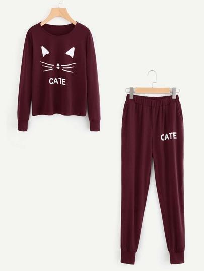 Cat Print Pullover & Sweatpants Set