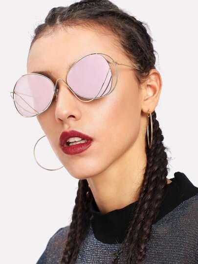Gafas de sol de lentes espejo de marco asimétrico
