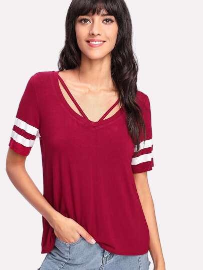 V Strap Neck Striped Sleeve T-shirt