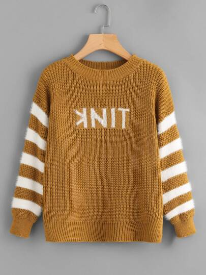Letter Pattern Stripe Sleeve Jumper
