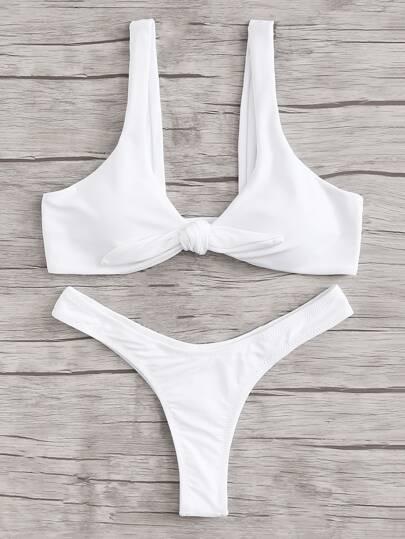 Set de bikini con nudo con diseño fruncido
