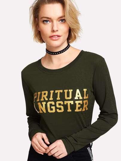 T-Shirt mit Buchstabenmuster
