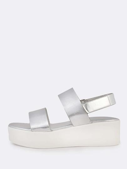 Metallic Double Strap Flatform Sandals SILVER