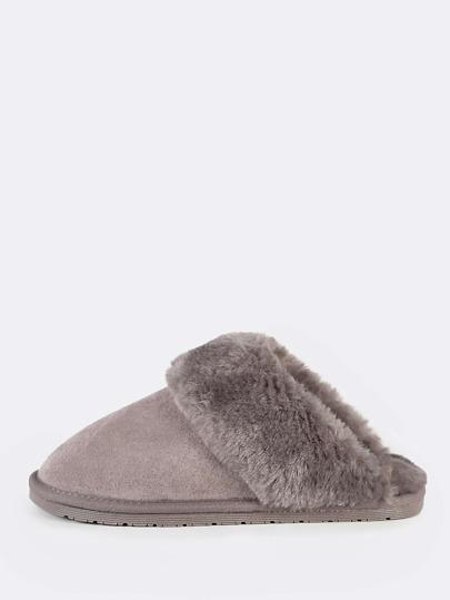 Fuzzy Lined Slippers MUSHROOM