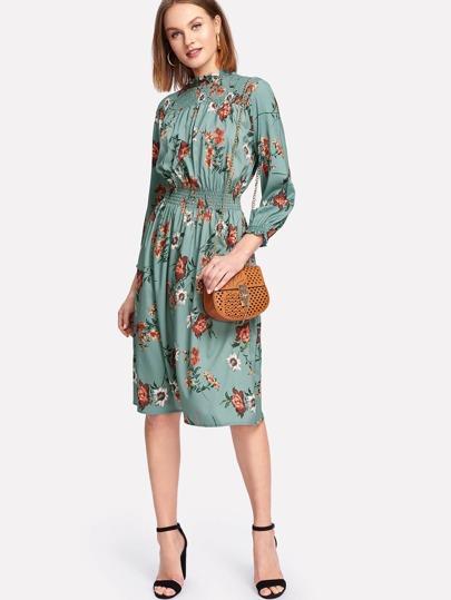 Shirred Detail Floral Dress