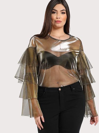 Layered Sleeve Sheer Top GOLD