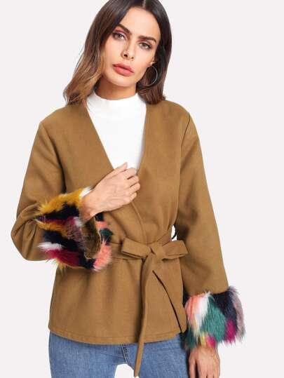 Contrast Faux Fur Cuff Self Belted Blazer
