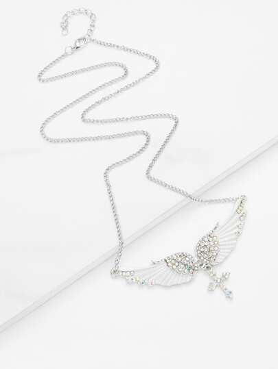 Rhinestone Cross & Wing Pendant Layered Necklace