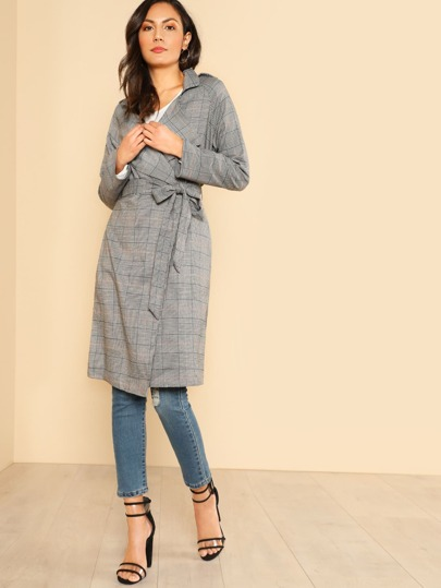Plaid Print Longline Trench Coat GREY