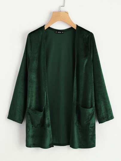 Manteau en velvet avec poche devant